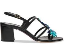 Floral-appliquéd leather sandals