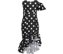 Off-the-shoulder Ruffled Polka-dot Cotton-blend Dress Black