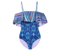 Cold-shoulder ruffled printed swimsuit