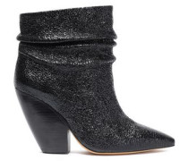 Patent Cracked-leather Ankle Boots Black