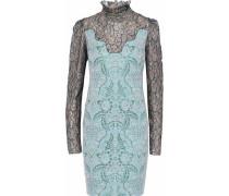 Metallic lace-paneled brocade dress