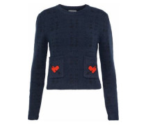 Jacquard-knit Wool-blend Sweater Navy