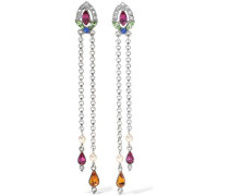 Silver-tone, Crystal And Faux Pearl Earrings Silver Size --