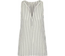 Aruna Striped Cotton-gauze Top Off-white