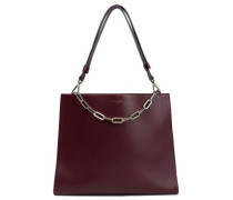 Chain-trimmed leather shoulder bag