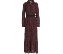 Belted corded lace midi dress