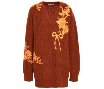 Embroidered Wool-blend Sweater Brick