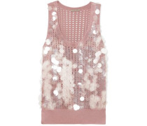 Embellished pointelle-knit silk top