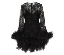 Feather-trimmed Lace Mini Dress Black
