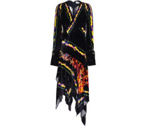 Wrap-effect printed velvet dress