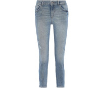 Florence Cropped Distressed Low-rise Skinny Jeans Mid Denim  4