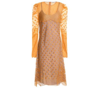 Lace-trimmed embroidered point d'esprit dress