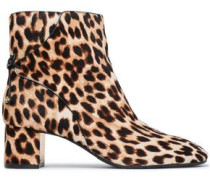 Bow-detailed leopard-print calf hair ankle boots