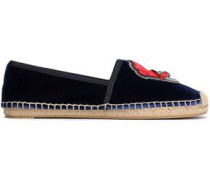 Appliquéd Velvet Espadrilles Midnight Blue