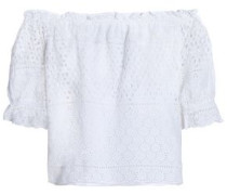 Off-the-shoulder broderie anglaise cotton top