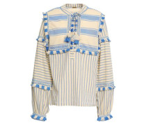 Emanuelle Embroidered Striped Cotton-gauze Top Light Blue