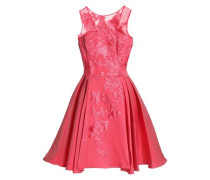 Embroidered tulle and silk-blend twill mini dress