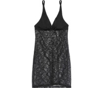 Evolved Jersey-paneled Stretch-lace Chemise Black