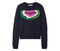 Watermelon Intarsia Wool Sweater Midnight Blue