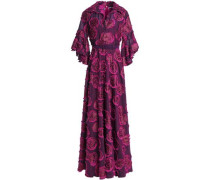 Metallic Cotton-blend Fil Coupé Gown Magenta