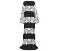 Lace-paneled Silk-blend Crepe De Chine Wrap Gown Black
