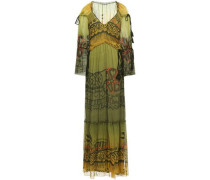Woman Gathered Tassel-trimmed Printed Silk-georgette Maxi Dress Army Green