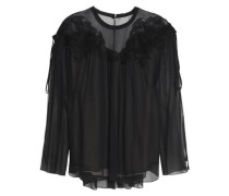 Guipure Lace-trimmed Gathered Silk-georgette Blouse Black