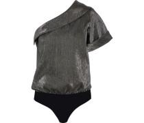 Malcom one-shoulder lamé and stretch-jersey bodysuit