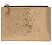 Metallic Cracked-leather Pouch Gold Size --