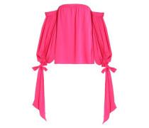 Off-the-shoulder silk-blend crepe de chine blouse