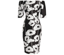 Off-the-shoulder floral-print twill dress