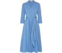 Cotton-blend Poplin Midi Wrap Dress Light Blue