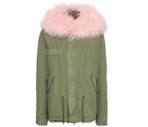 Shearling-trimmed Cotton-blend Gabardine Hooded Coat Army Green