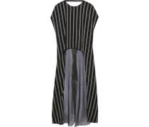 Draped Striped Twill And Metallic Chiffon Tunic Black