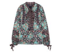 Pussy-bow Printed Fil Coupé Silk-blend Shirt Mint