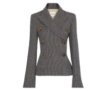 Cathy Double-breasted Houndstooth Wool Blazer Dark Gray Size 0