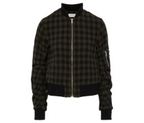 Checked wool bomber jacket