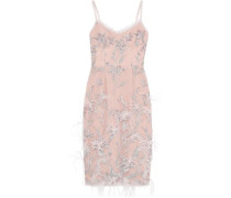 Feather-embellished Embroidered Tulle Slip Dress Blush