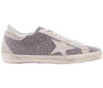Swarovski Crystal-embellished Distressed Suede Sneakers Silver