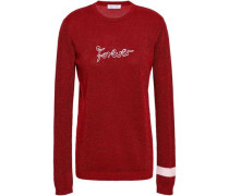 Embroidered Metallic Wool-blend Sweater Claret