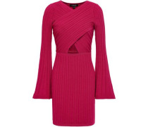 Cutout Ribbed-knit Mini Dress Crimson