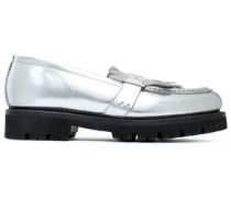 Buckled fringed mirrored-leather loafers