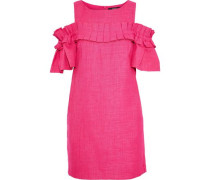 Cold-shoulder pleated woven mini dress