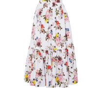 Leigh Layered Floral-print Cotton-poplin Maxi Skirt White