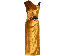 Wrap-effect Ruched Velvet Midi Dress Saffron