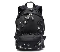 Floral-appliquéd shell backpack