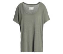 The Slouchy Printed Cotton-jersey T-shirt Grey Green Size 0