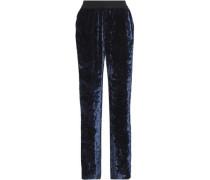 Crushed-velvet Wide-leg Pants Navy