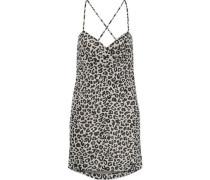 Woman Open-back Gathered Leopard-print Silk-chiffon Mini Dress Off-white