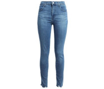 Woman Cropped Distressed Faded High-rise Skinny Jeans Mid Denim